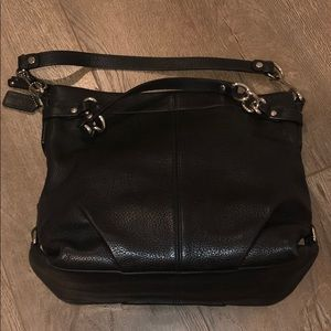 Black Leather Coach double strapped bag